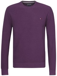 Tommy Hilfiger Twisted Cotton Crew Neck Jumper Grape Purple