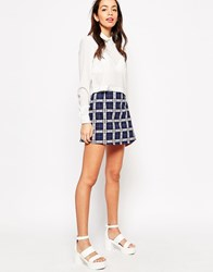Motel Annie Mini Skirt In Plaid Navy