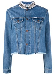 Forte Couture Embellished Collar Denim Jacket Women Cotton M Blue