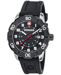 Wenger Men's Swiss Roadster Black Silicone Strap Watch 45Mm 0851.105