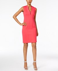 Calvin Klein Scalloped V Neck Sheath Dress Watermelon