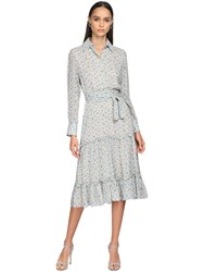 Luisa Beccaria Printed Georgette Shirt Dress Ivory