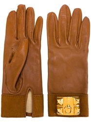 Hermes Vintage Leather Gloves Brown