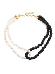 Jonesy Wood Carly 9 10Mm White Freshwater Pearl And Beaded Double Looped Necklace