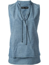 Proenza Schouler Chambray Tank Top Blue