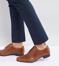 Asos Wide Fit Oxford Shoes In Tan Leather With Toe Cap