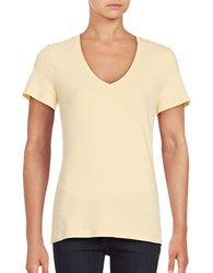Lord And Taylor Solid V Neck T Shirt Yellow