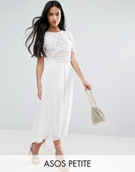 Asos Petite Heavily Applique Crop Top Midi Dress Cream