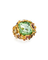 Kenneth Jay Lane 22K Gold Plated Floral Cocktail Ring Multicolor