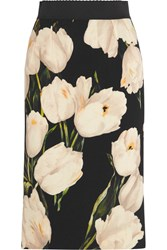 Dolce And Gabbana Floral Print Wool Crepe Pencil Skirt White