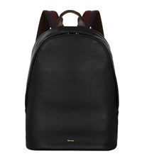 Paul Smith Leather Oval Backpack Black