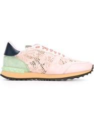 Valentino Garavani 'Rockrunner' Lace Sneakers Pink And Purple
