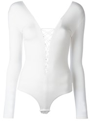 Alexander Wang T By Lace Up Bodysuit White