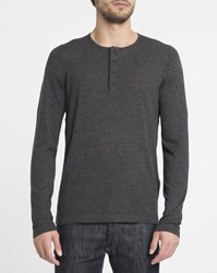 Sandro Grey Henley Grandad Collar Sweater