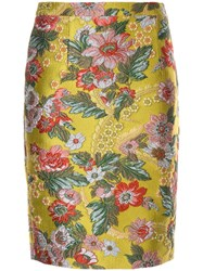 Andrew Gn Floral Pattern Fitted Skirt Yellow