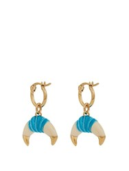 Aurelie Bidermann Takayama Bakelite And Gold Plated Earrings Blue