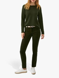 Pure Collection Washed Velvet Jeans Rich Olive