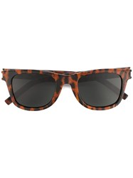 Saint Laurent Leopard Print Sunglasses Brown