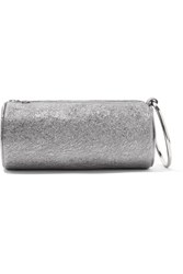 Kara Duffel Metallic Textured Leather Clutch Silver