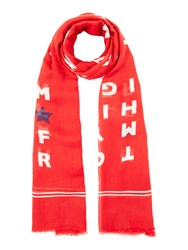 Tommy Hilfiger Logo Story Scarf Red