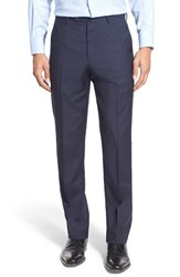Men's John W. Nordstrom Flat Front Check Wool Trousers Navy