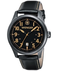 Wenger Men's Swiss Terragraph Brown Leather Strap Watch 43Mm 0541.105