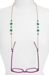 Women's L. Erickson 'Daphanie' Eyeglass Chain Emerald Gold