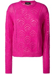 Rochas Embroidered Fitted Sweater Pink And Purple