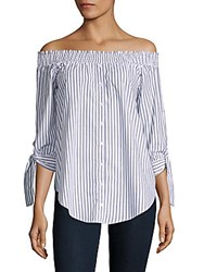 Saks Fifth Avenue Striped Off The Shoulder Blouse White Black