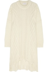 Vionnet Cable Knit Mohair Blend Sweater Dress White