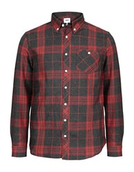 Wesc Ole Relaxed Fit Plaid Shirt Red Black