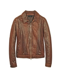 Forzieri Python Leather Motorcycle Jacket Brown