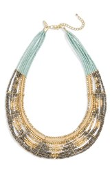 Natasha Couture Women's Beaded Statement Necklace Gold Teal