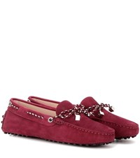 Tod's Heaven New Laccetto Suede Loafers Red