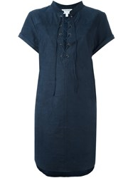 Frame Denim Lace Up Suede Dress Blue