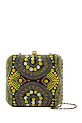 G Lish Colorful Beaded Hard Case Clutch Multi