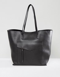 New Look Minimal Pocket Shopper Bag Black