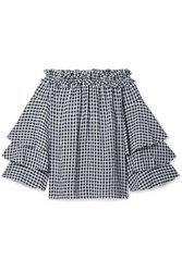 Michael Kors Collection Ruffled Off The Shoulder Gingham Georgette Top Black