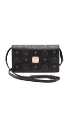 Mcm Cross Body Wallet Black And Silver