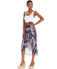 Ny Collection Petite Printed Hi Low Wrap Skirt