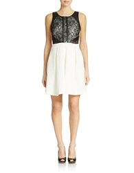 Guess Coraline Fit And Flare Dress Ivory Black