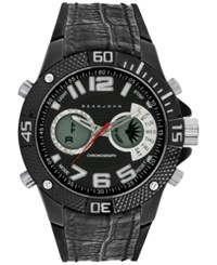 Sean John Men's Analog Digital Black Silicone And Leather Strap Watch 50Mm 10026868