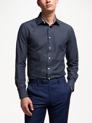 Smyth And Gibson Textured Melange Contemporary Fit Shirt Navy