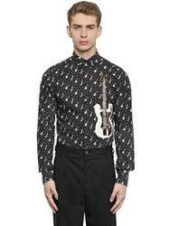 Dolce And Gabbana Guitar Print Cotton Poplin Shirt