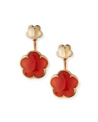 Pasquale Bruni Bon Ton Carnelian Flower Jacket Earrings In 18K Rose Gold