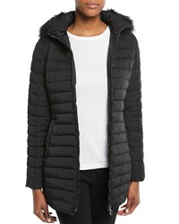 Emporio Armani Zip Front Fitted Quilted Puffer Parka Jacket W Detached Hood Black