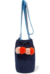 Sophie Anderson Lulu Pompom Embellished Woven Bucket Bag Midnight Blue