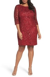 Pisarro Nights Plus Size Women's Draped Back Beaded Dress Burgundy
