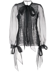 Marchesa Pussy Bow Lace Blouse Black