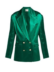 Hillier Bartley Oversized Silk Double Breasted Blazer Green